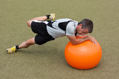 Training with a gymnastic ball Royalty Free Stock Photography