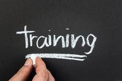 Training. Hand writing Training word with chalk stock image