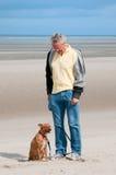Training his dog royalty free stock photo