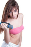 Training at home with heavy dumbbells Stock Photos