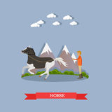 Training a horse vector illustration in flat style. Vector illustration of man training beautiful piebald horse. Flat style design element Royalty Free Stock Photography