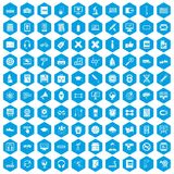 100 training icons set blue. 100 training icons set in blue hexagon isolated vector illustration Royalty Free Illustration