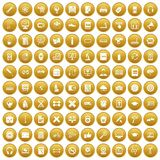100 training icons set gold. 100 training icons set in gold circle isolated on white vector illustration Vector Illustration