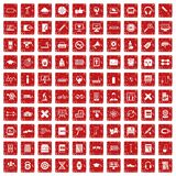 100 training icons set grunge red. 100 training icons set in grunge style red color isolated on white background vector illustration Stock Photography