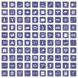 100 training icons set grunge sapphire. 100 training icons set in grunge style sapphire color isolated on white background vector illustration Stock Illustration