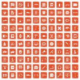 100 training icons set grunge orange. 100 training icons set in grunge style orange color  on white background vector illustration Stock Illustration