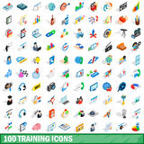 100 training icons set, isometric 3d style Stock Photos