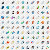 100 training icons set, isometric 3d style Royalty Free Stock Photo