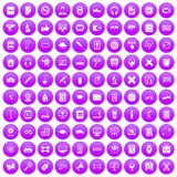 100 training icons set purple. 100 training icons set in purple circle isolated on white vector illustration Stock Photos