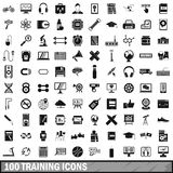 100 training icons set, simple style Stock Photos