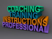 Training illustration. With words coaching, training, instructions and professional Stock Images