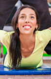 Training instructor. Woman with personal trainer in gym Royalty Free Stock Photos