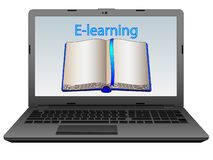 Training on the Internet. Electronic learning. Remote and distance learning, courses and self-education in the network. royalty free illustration