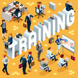 Training Isometric People 3D Set Vector Illustration. Training Group of Diverse Isometric Business People. 3D meeting infograph crowd with standing walking Royalty Free Stock Photo