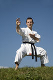 Training of karate champion - kata Stock Photo