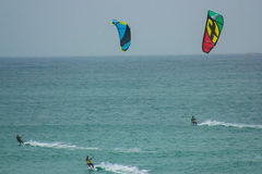 Training Kite surfing in Baleal, Peniche, Portugal Stock Photography