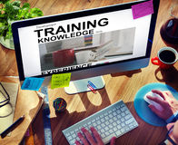 Training Knowledge Skills Experince Cup Words Concept. People Computer and Technology Training Knowledge Skills Royalty Free Stock Image