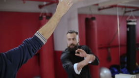 Training with Kung Fu kick in the air. HD stock video
