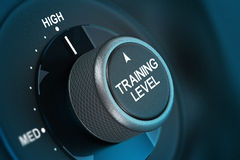 Training Level Concept, Coaching. Training button pointing on hith level, 3d render image vith blue tones and blur effect Royalty Free Stock Image