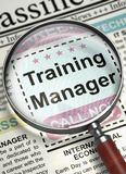 Training Manager Wanted. 3D. Training Manager - Close Up View Of A Classifieds Through Loupe. Column in the Newspaper with the Classified Ad of Training Manager Stock Images