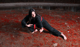 Training Marital Arts. Conceptual photo of young female assassin Royalty Free Stock Photos