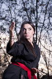 Training Marital Arts. Conceptual photo of young female assassin Royalty Free Stock Images