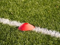 Training mark in soccer playfield. White line marks painted on artificial green turf background Stock Images