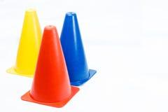 Training marker cones isolated on white background Stock Image