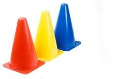 Training marker cones isolated on white background Stock Photo