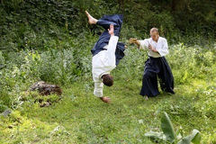 Training  martial art  Aikido. Stock Photo