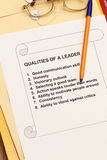 Training material. Qualities of a leader - training materials for advancement of personality and development stock photos