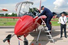 Training military airplane at MAKS International Aerospace Salon MAKS-2017 Stock Image