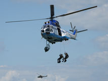 Training military. Jumping from helicopter royalty free stock images
