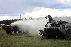 The training of military personnel is held in the offensive. Force coldier run stock images
