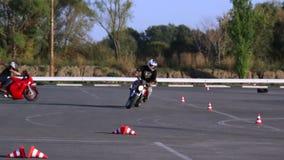 Training motorcycle driving skills Motoschool. Full HD stock video
