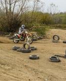 Training on a motorcycle enduro. Stock Image