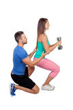 Training with my personal trainer Royalty Free Stock Images