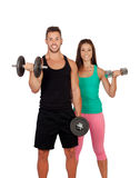 Training with my personal trainer Stock Image