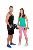Training with my personal trainer Royalty Free Stock Photo