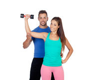Training with my personal trainer Royalty Free Stock Photos