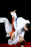 Training nage judo in the performance of an athlete with a blue belt Stock Image