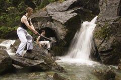 Training Near Waterfall Stock Image