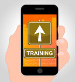 Training Online Means Mobile Phone And Coaching Royalty Free Stock Photography