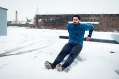 Training op een de Winterdag royalty-vrije stock fotografie