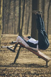 Training outdoors,sit-ups Royalty Free Stock Photography