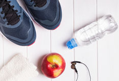 Training outfit on white table, top view Royalty Free Stock Images