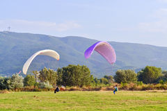 Training with parachutes Royalty Free Stock Photo