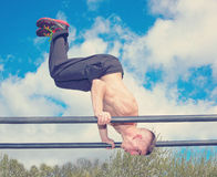 Training park workout parallel bars Stock Photos