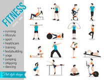 Training people icons set for sport and fitness Stock Image