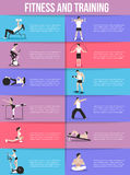 Training people icons set for sport, fitness Stock Images